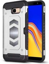 Ntech Samsung Galaxy J4 Plus (2018) Luxe Armor Case Pashouder - Zilver