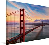 Kleurrijke zonsondergang boven de Golden Gate Bridge in San Francisco Canvas 30x20 cm - klein - Foto print op Canvas schilderij (Wanddecoratie woonkamer / slaapkamer) / Amerikaanse steden Canvas Schilderijen