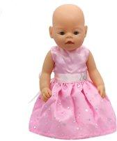 Voor Baby born en andere poppen met lengte van 41-45 cm - Roze jurkje met pailletten en zilveren vlinders - Jurk voor babypop