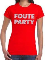 Foute Party zilveren glitter tekst t-shirt rood dames - foute party kleding 2XL