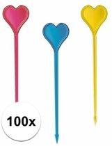 100x hartjes prikkers in verschillende kleuren - kunststof cocktailprikkers