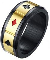 Stalen mannen ring Lucky Cards Spinner Goud Zwart-19mm