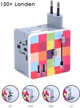 Universele Wereldstekker met 2 USB Poorten - Internationale Reisstekker voor 150+ landen - Engeland (UK) - Amerika (USA) - Azië - Australië - Zuid Amerika - Afrika - Oplader - Reis Adapter - Wereld Stekker – Kleuren