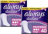 Always Dailies Profresh Large - 80 inlegkruisjes (2x40)