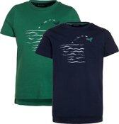 Blue Seven Shirts (2stuks) Blauw Groen - Maat 128