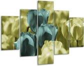 Glasschilderij Tulp | Blauw, Zwart, Groen | 100x70cm 5Luik | Foto print op Glas |  F003775