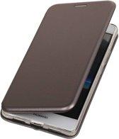 BestCases.nl Grijs Premium Folio leder look booktype smartphone hoesje voor Huawei P9 Lite