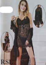 Dames 3 delig lingerieset met kant one size zwart