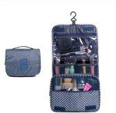 Toilettas met ophanghaak blauw groen dessin - travel bag hook - make up tas met haak - beauty case