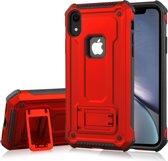 Let op type!! Schokbestendige PC + TPU Armor beschermende case voor iPhone XR  met houder (rood)