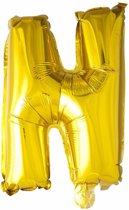 Folie Ballon Letter N Goud 41cm met rietje