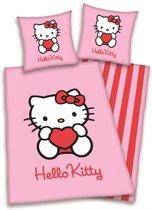 Hello Kitty - Flanel - Dekbedovertrek - Junior - 120x150 cm + 1 kussensloop 60x70 cm - Roze
