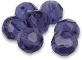 Losse Kralen Bergkristal Paars Facet (14 mm – 7 stuks)
