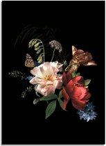 DesignClaud Vintage boeket bloemen poster - Bloemstillevens - Zwart Rood Wit A3 + Fotolijst wit