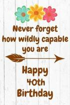 Never Forget How Wildly Capable You Are Happy 40th Birthday: Cute Encouragement 40th Birthday Card Quote Pun Journal / Notebook / Diary / Greetings /