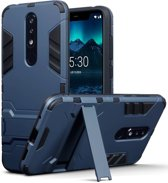 Qubits - Double Armor Layer hoes met stand - Nokia 5.1 Plus - blauw
