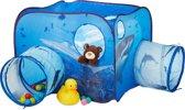 relaxdays haai speeltent - tunnel - pop-up kindertent - kinderspeeltent voor buiten blauw