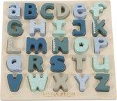 Puzzel hout alfabet Little Dutch blauw