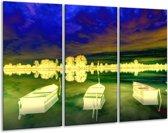 Canvas schilderij Boot | Geel, Blauw, Groen | 120x80cm 3Luik