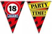 18 jaar vlaggenlijn waarschuwingsbord 10mtr - verjaardag slingers