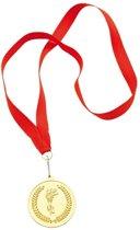 Gouden medaille aan rood lint
