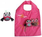 LeuksteWinkeltje opvouwbare roze tas Uil - boodschappentas / shopper - 38 x 60 cm