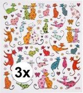 Katten / poezen stickervel met gekleurde stickers