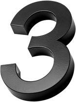 Xaptovi 3D Huisnummer 3 Materiaal: RVS - Hoogte: 20cm - Kleur: Zwart