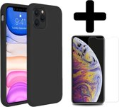 iPhone 11 Pro Max Hoesje Silicone Case Cover Zwart + Screenprotector Gehard Glas