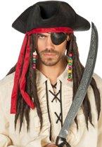 Piratenhoed Jack met haarband en dreads zwart