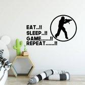 Muursticker Eat Sleep Game Repeat -  Zwart -  80 x 47 cm  - Muursticker4Sale
