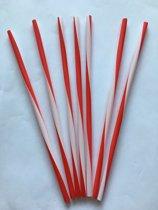 Rietjes rood/wit gestreept  250 stuks