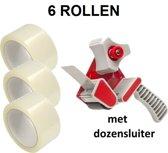 6 Rollen - Verpakkingstape PP 50 mm x 66 mtr + Dozensluiter