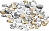 Ronde strass steentjes zilver mix 360 stuks