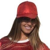 Rode pailletten disco baseball cap/ petje