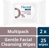 Neutral 0% Make-Up Remover Wipes - Gezichtsreinigingsdoekjes - 2x25stuks