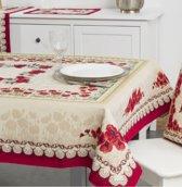 Tafelkleed - luxe gobelin - Klaproos - Vierkant 100 x 100 cm