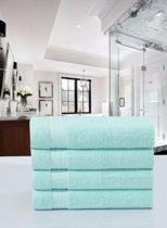 Luxe Katoen Handdoek Mint | 50x100 | Set van 4 | Met Een Geweven Bies