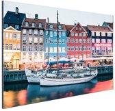 FotoCadeau.nl - Kopenhagen by night Aluminium 90x60 cm - Foto print op Aluminium (metaal wanddecoratie)