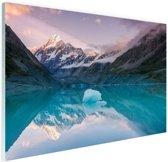 FotoCadeau.nl - Mount Cook bij zonsondergang  Glas 120x80 cm - Foto print op Glas (Plexiglas wanddecoratie)