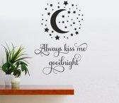 Muursticker - Always Kiss Me Goodnight - Zwart 58x81