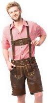 Tannhauser Oktoberfest echte Lederhosen voor mannen | Starnberg Smokey Short |  Donkerbruin | Maat XS