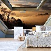 Fotobehang Mountain Skylight Window View   V4 - 254cm x 184cm   130gr/m2 Vlies