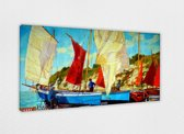 Bright Boats 120x80 cm, Canvas Schilderij 100% katoen