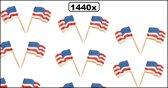 1440x Cocktailprikker wapperende vlag USA - cocktail prikker vlag  amerika usa landen kaas worst eten thema feest festival