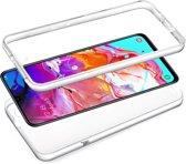 iCall - Samsung Galaxy A70 Hoesje + Screenprotector - 2 in 1 Siliconen TPU Case Transparant voor Volledige 360 Graden Bescherming Voor- en Achterkant