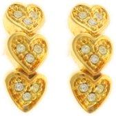 Behave® Hartjes oorbellen goud-kleur 2cm