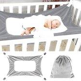Babyhangmat Box - Baby Park - Baby Nestje - Kraamcadeau - Wieg hangmat -  Verstelbare Metalen Riem Gespen - Grijs