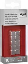 Magneet voor glasbord Sigel 10x10x10mm vernikkeld sterk 10 stuks