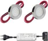 LED onderbouwverlichting keuken Malmo - keukenverlichting / verlichting keukenkastjes - 2W / rond / 230V / IP20 / warmwit - set van 2 stuks
